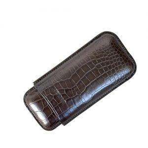 Jemar Leather Cigar Case Lead Gray 2-Finger