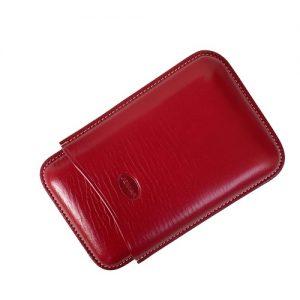 Jemar Leather Cigar Case Red 3-Finger
