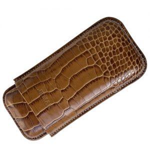 Jemar Leather Cigar Case Camel Coco 2-Finger